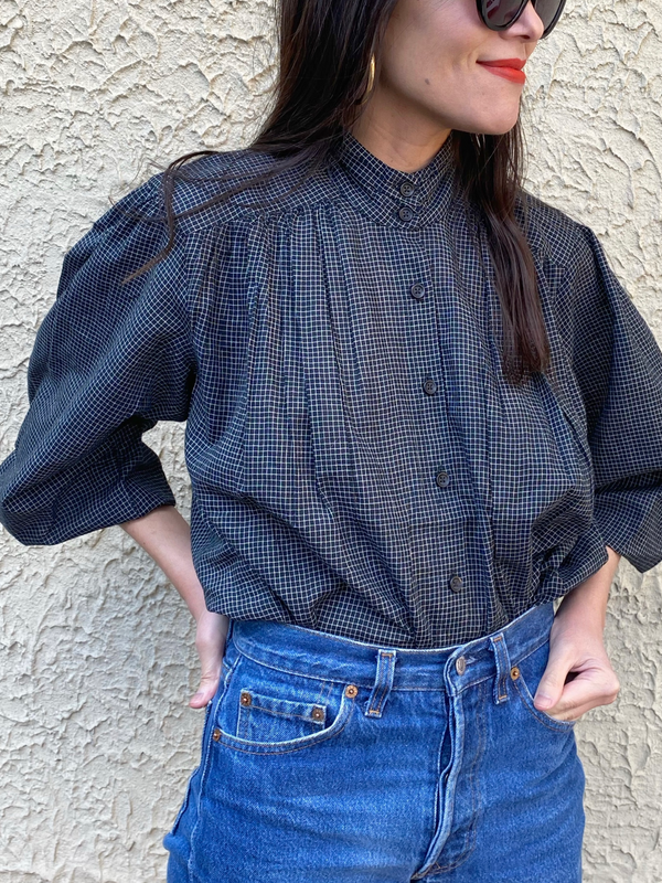 Sabrina Top in Gingham Black Check