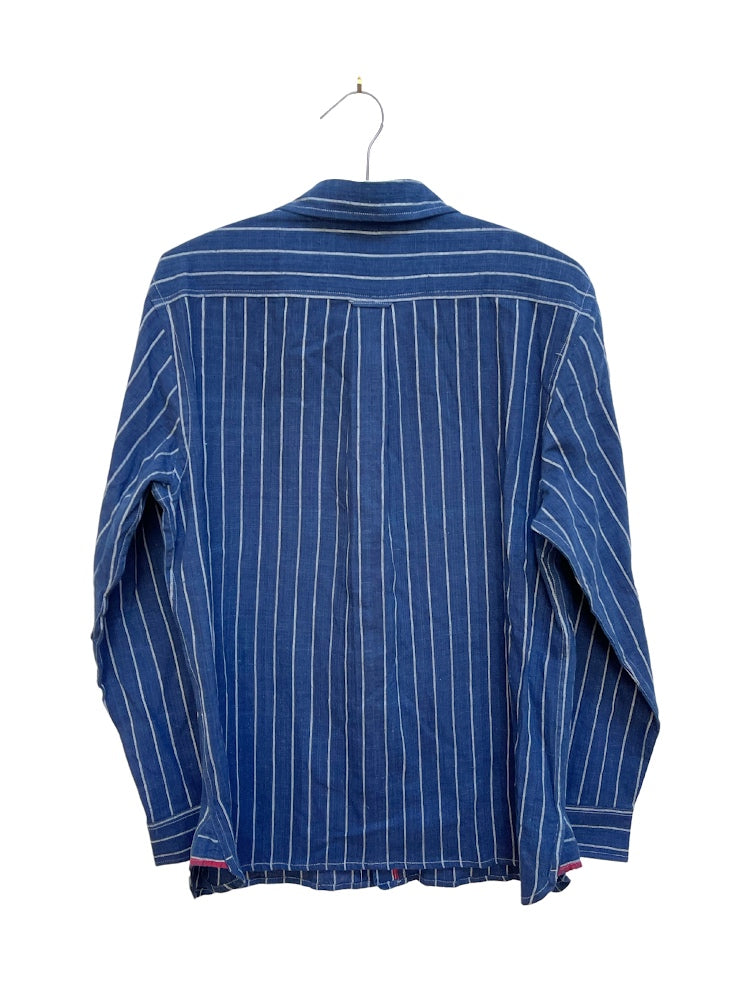 Kabir Shirt in Indigo Railroad Stripe