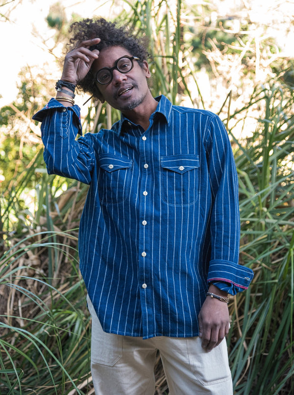 Work Shirt in Indigo Railroad Stripe
