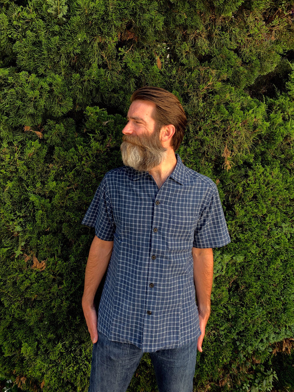Archie Camp Shirt in Blue Checks