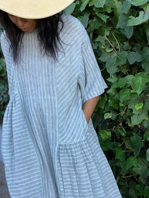 May Boxy Dress in Blue Stripe