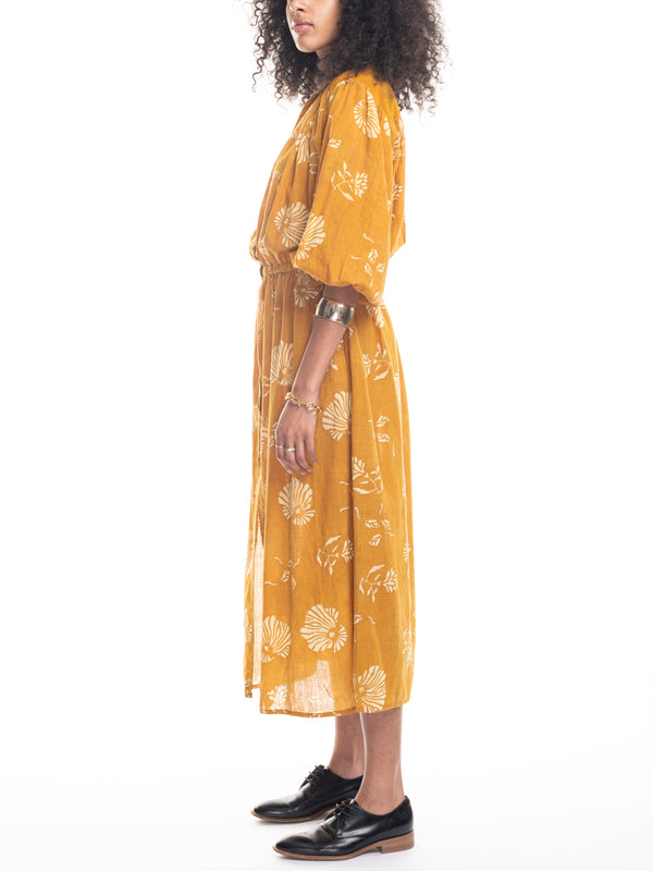 Sabrina Dress in Turmeric Block Print