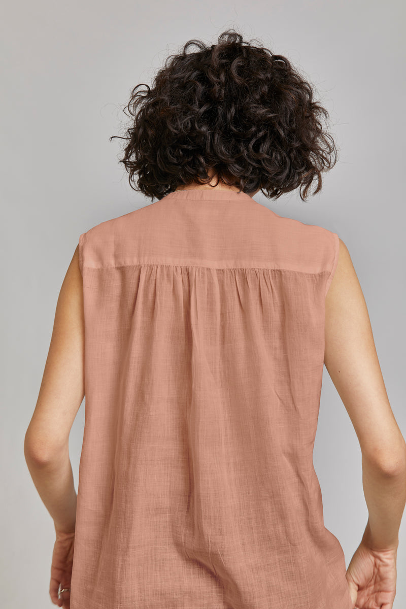 Aileen Sleeveless Shirt in Opal