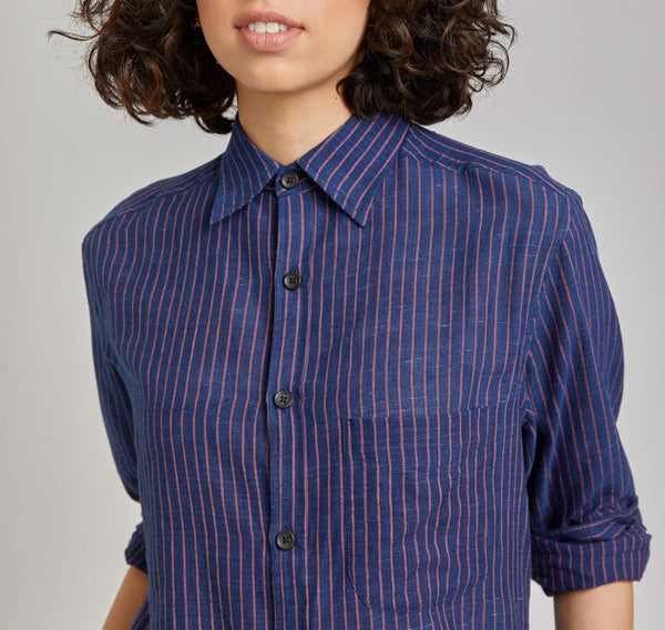 Kabir Sport Shirt in Indigo Stripe