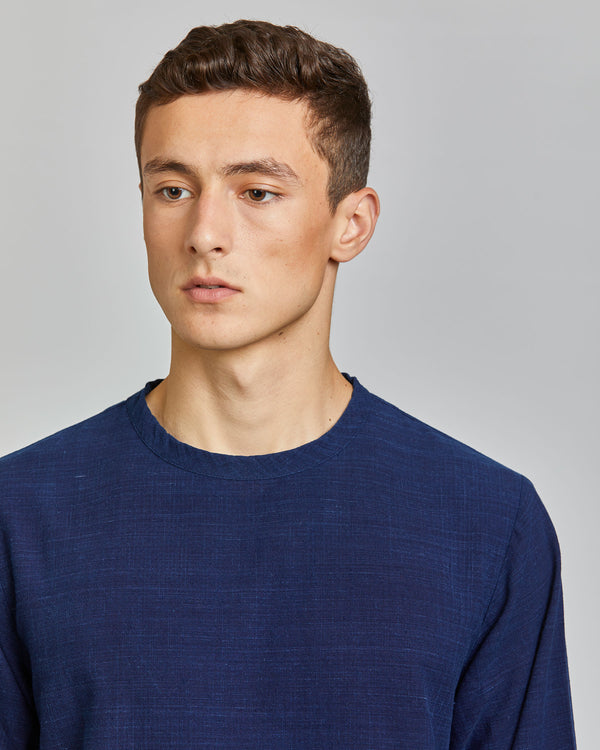Justice Long Sleeve Woven Tee in Indigo