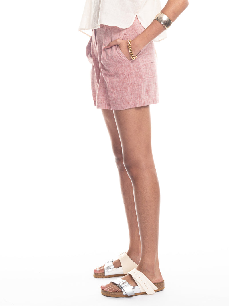 Mina Pleated Shorts in Chambray Pink