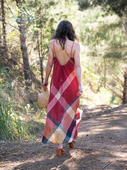 Sadie Camisole Dress in Red Madras Plaid