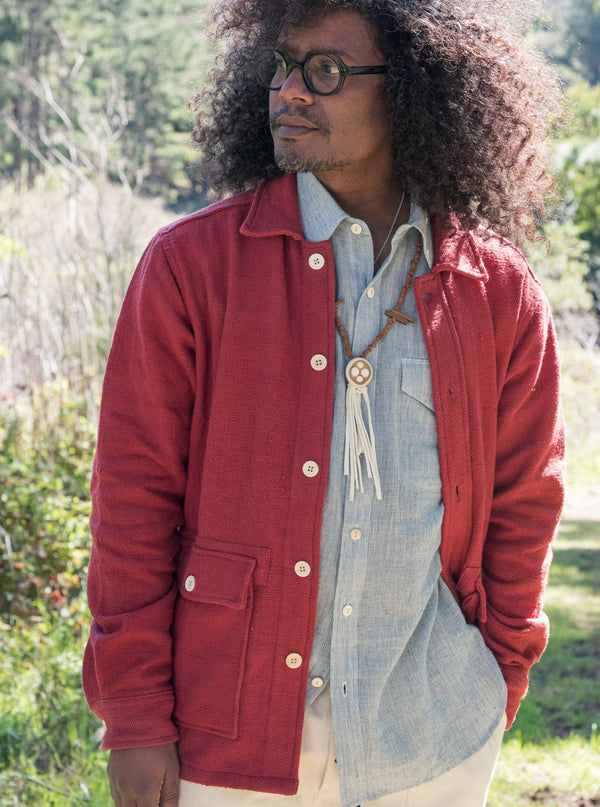 Chore Coat in Red Nubby Cotton