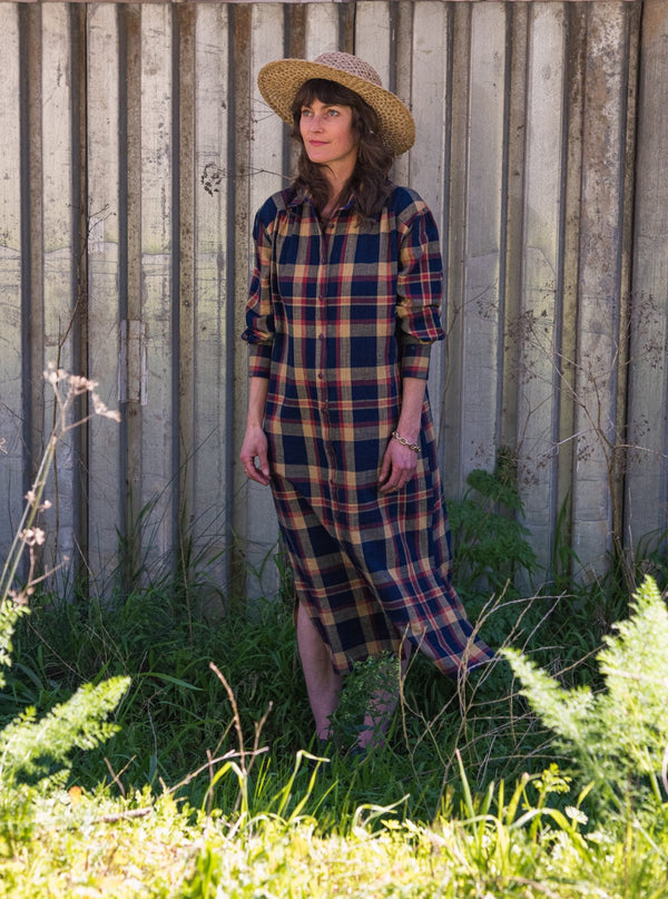 Shirtdress in Navy Madras Plaid