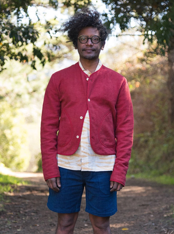 Cardigan in Red Nubby Cotton