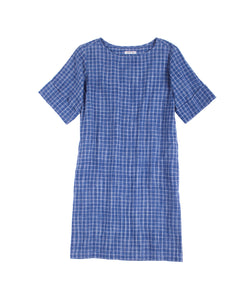 Maya Sack Dress Indigo Plaid