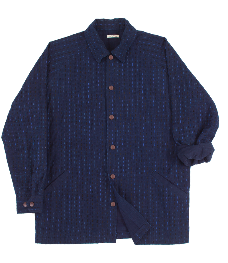 Sammy Shirt in Indigo with Embroidery