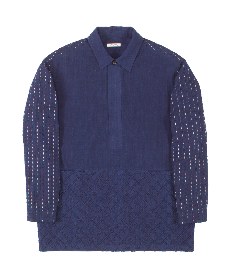 Zane Shirt Indigo with Embroidery