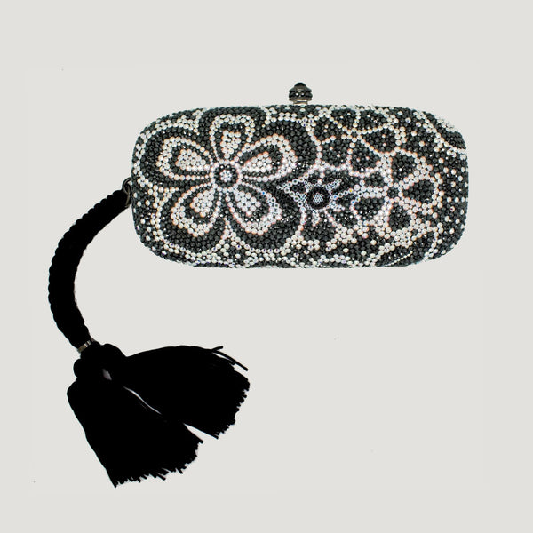 Swarovski Crystal Flower Clutch Bag with Tassel
