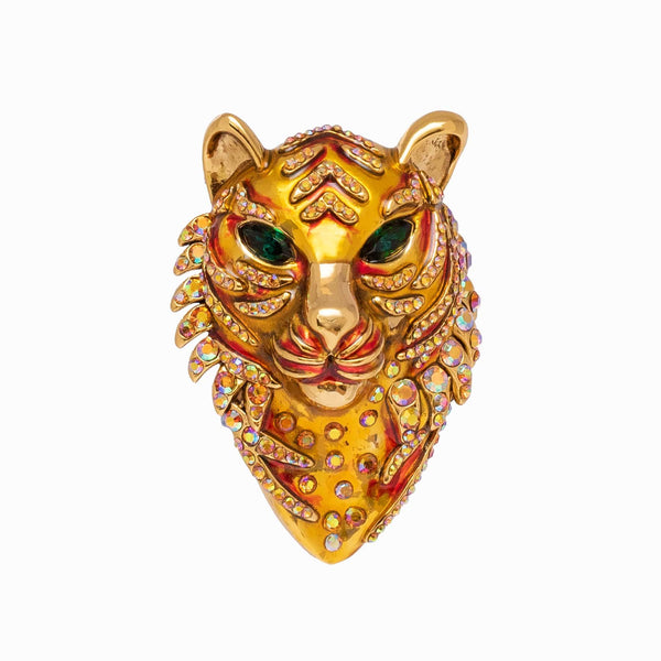 Crystal Tiger Head Brooch