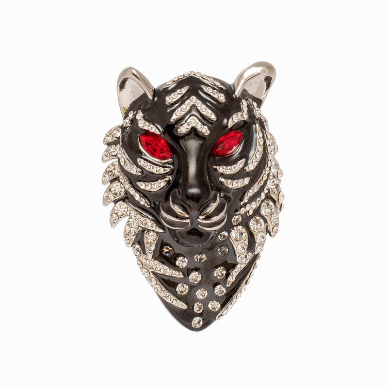 Crystal Tiger Head Pattern Brooch