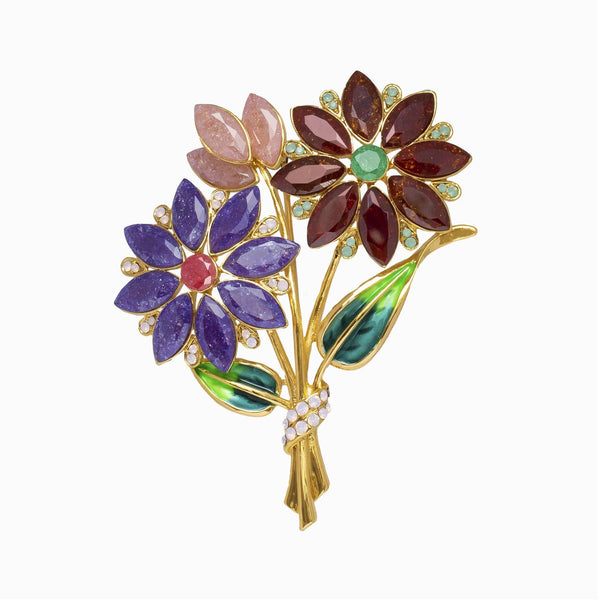 Flower Bouquet Crystal Brooch
