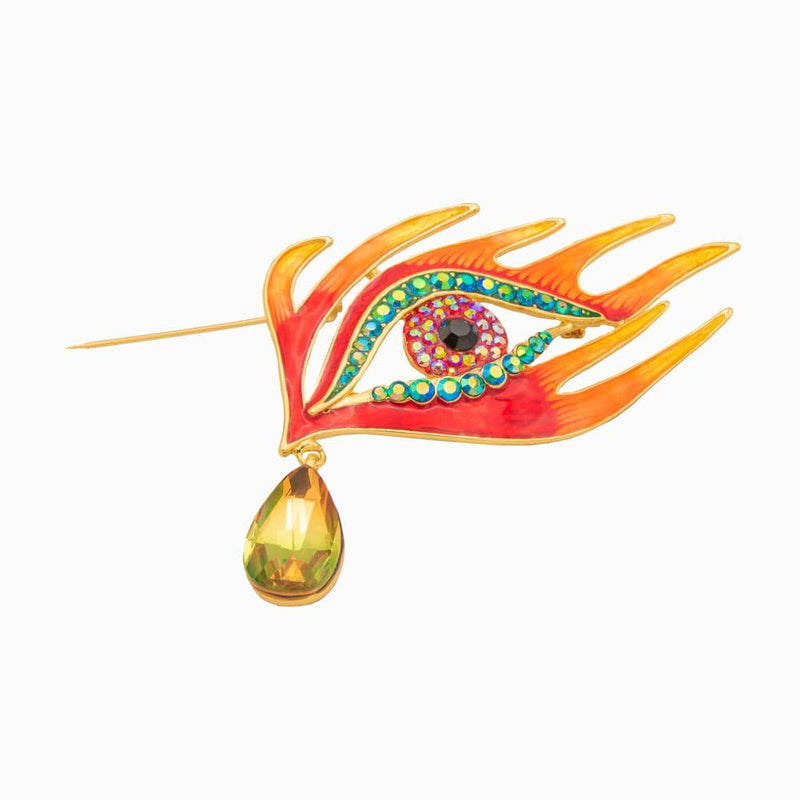 Flaming Dragon Eye Teardrop Brooch