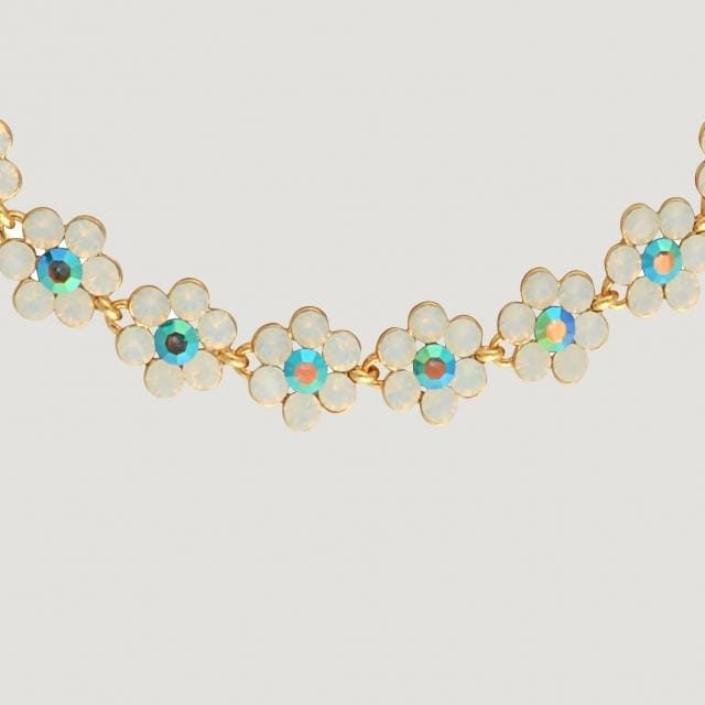 14 Pretty Flowers With Opalised Crystal Necklace