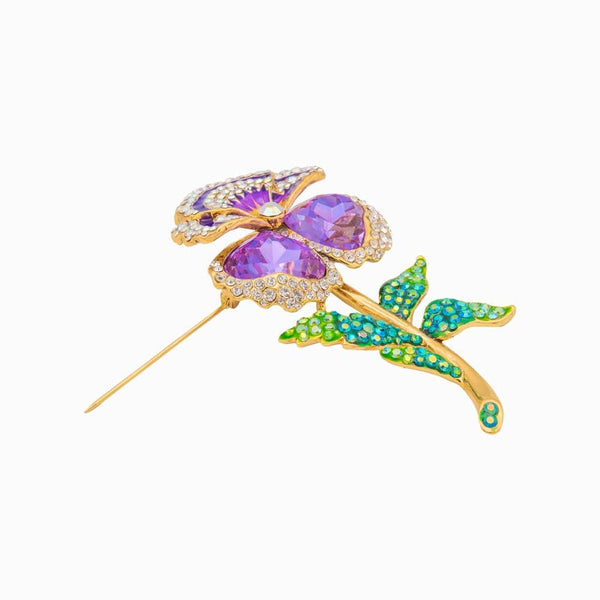 Swarovski Studded Budding Pansy Brooch