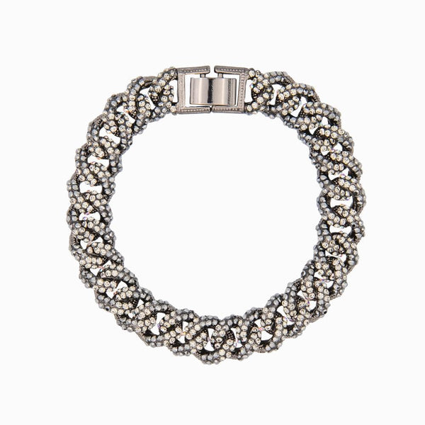 Small Flat Links Pave Crystal Bracelet