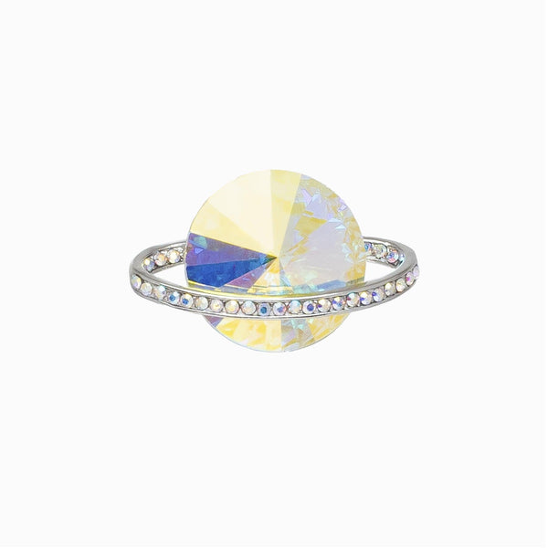 Small Crystal Saturn Planet Pin Brooch