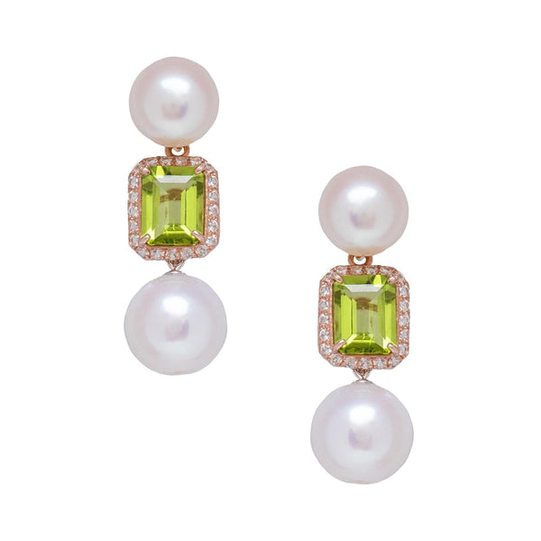 Freshwater Pearl  Peridot & White Topaz Earrings