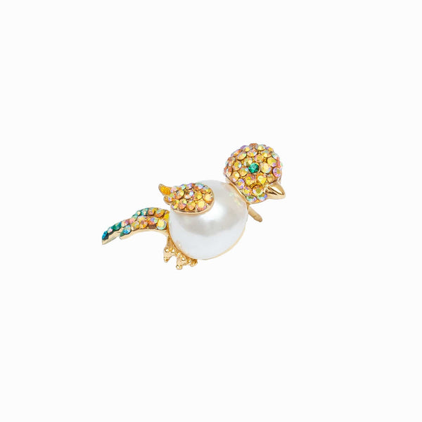 Small Crystal Encrusted & Pearl Bird Pin Brooch