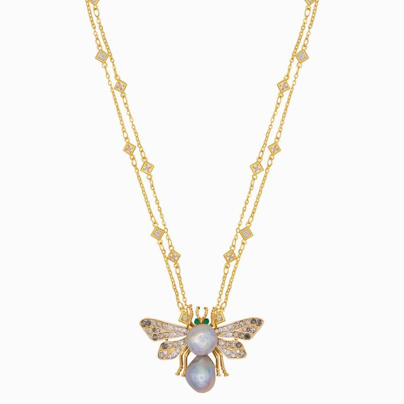 Dual Baroque Pearl Studded Moth Necklace