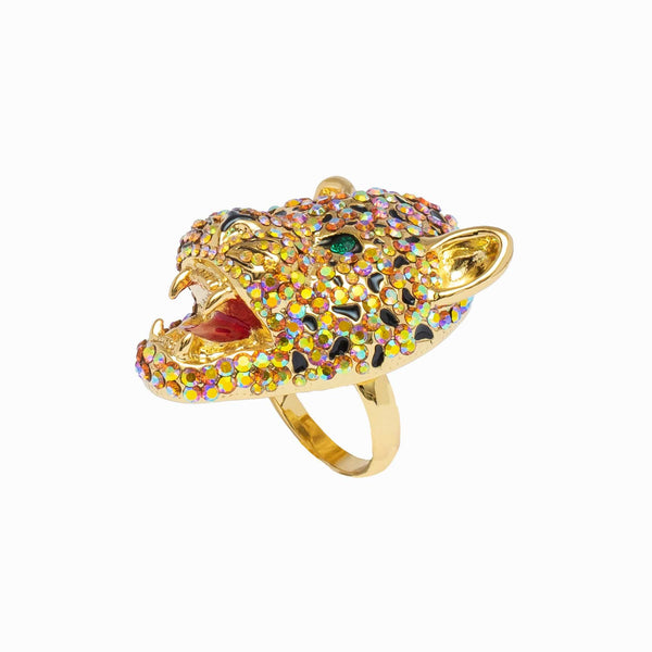 Crystal Adjustable Leopard Head Ring