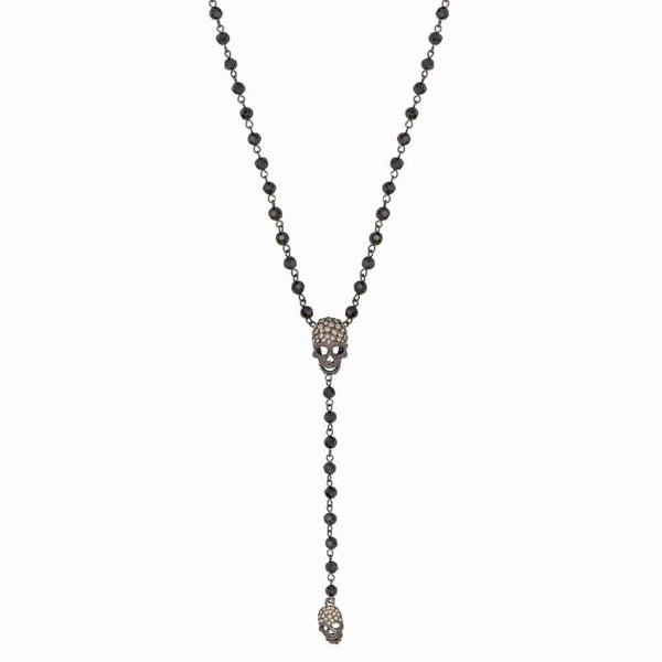 Crystal Skull Beaded Y Shape Necklace