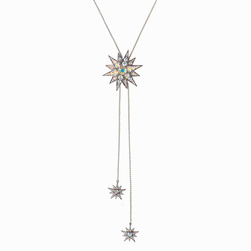 Crystal Encrusted Bursting Star Lariat Necklace