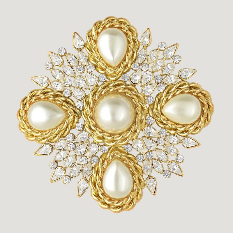 5 Faux Pearl & Crystal French Look Brooch