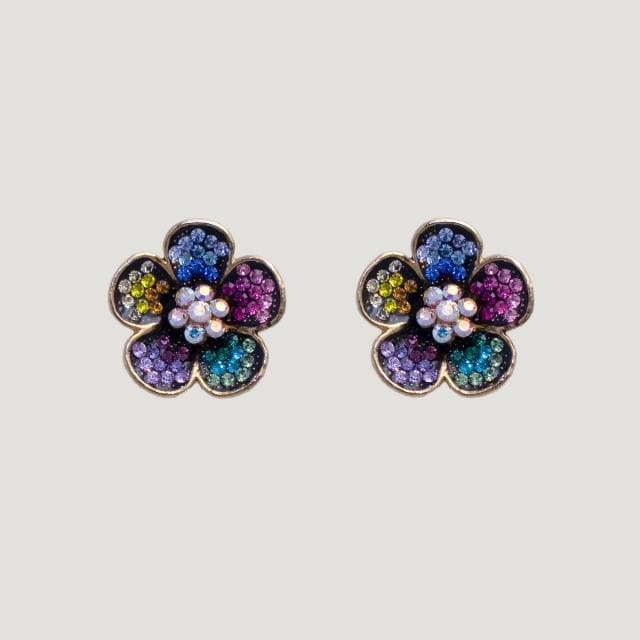 5 Petal Flower Multi Coloured Stud Earrings