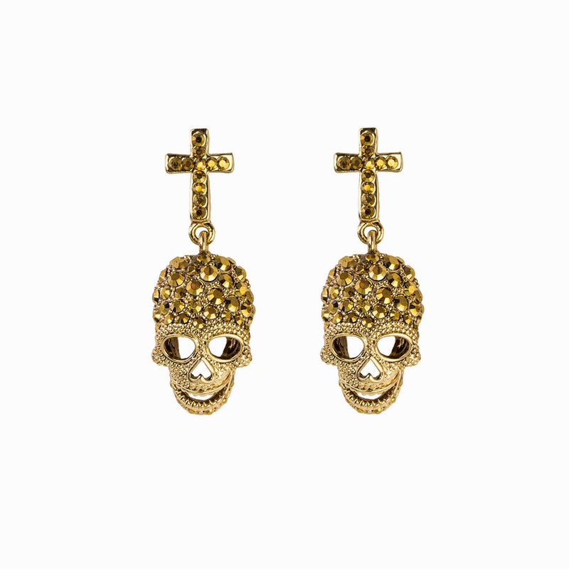 Cross and Skull Crystal Earrings
