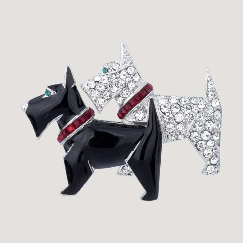 Twin Scottie Dog Brooch