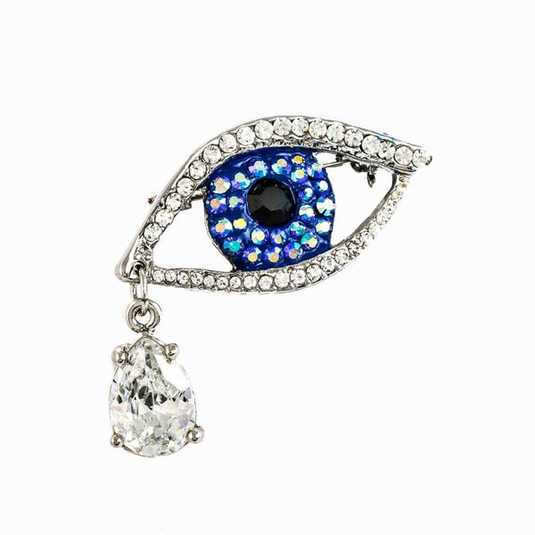 Small Eye & Drop Crystal Encrusted Brooch