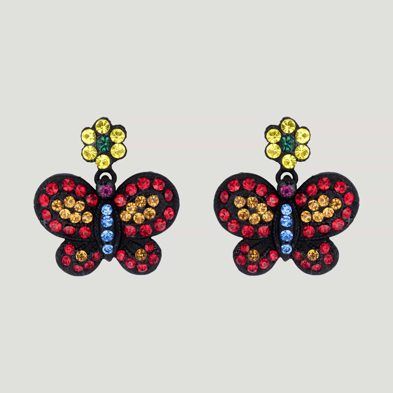 Colourful Butterfly and Flower Earring