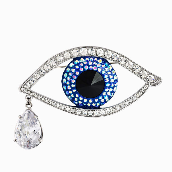 Medium Crystal Eye Brooch