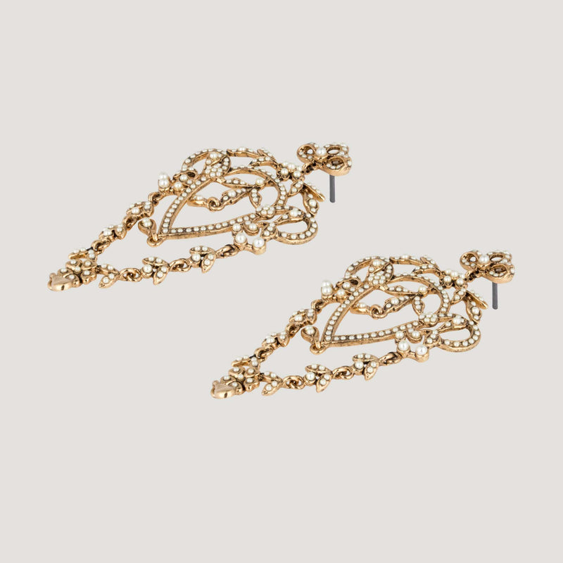 Chandelier Style Flower & Leaf Crystal Earrings