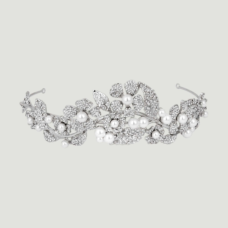 Crystal Flower and Leaf Pearl Tiara