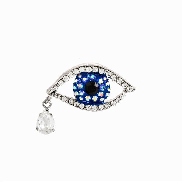 Small Eye & Drop Crystal Encrusted Pin Brooch