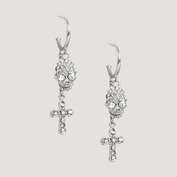 Small hoop skull cross earrings