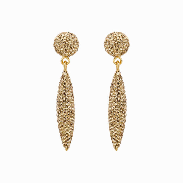 Crystal Encrusted Stud & Cone Drop Earrings