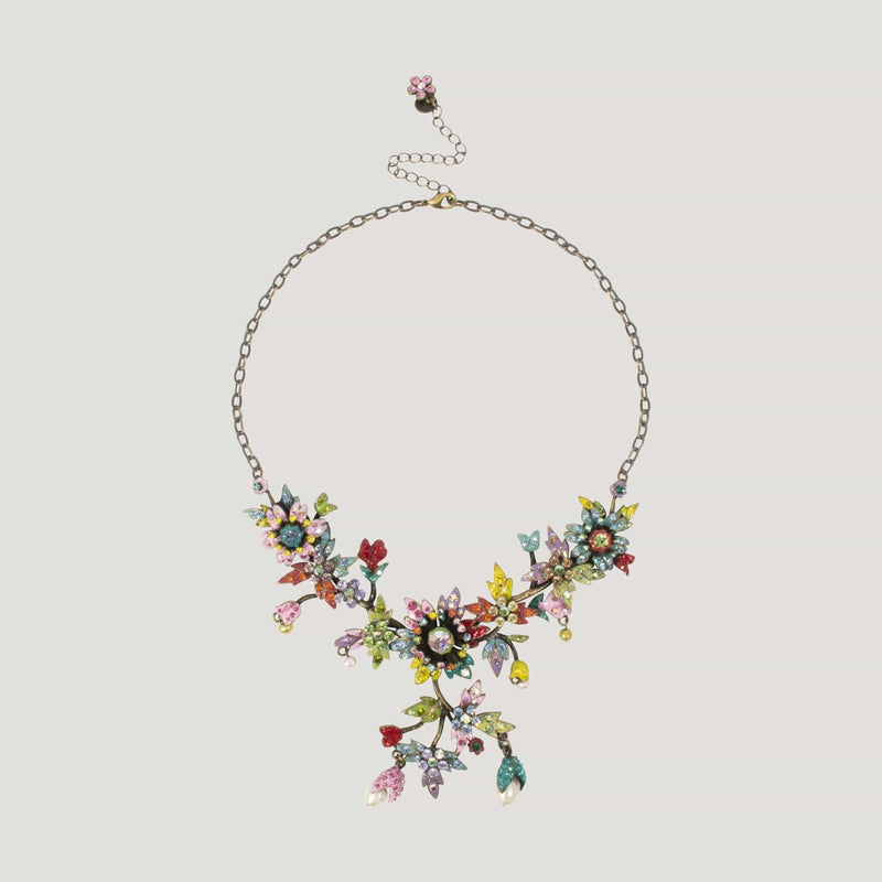 Enamel & Crystal Spray Flowers Necklace