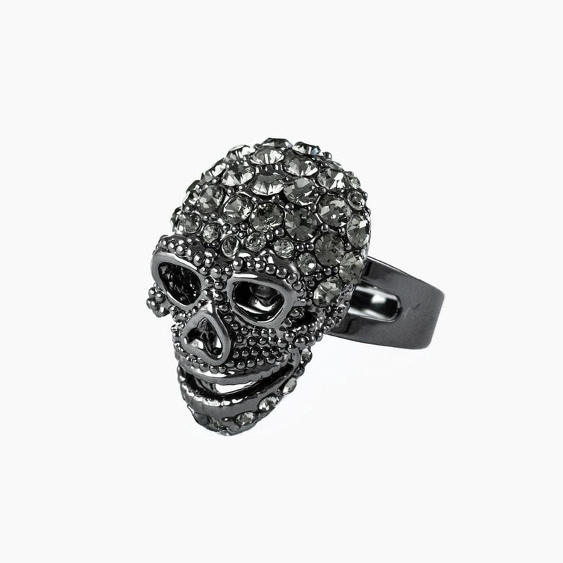 Small Crystal Skull Adjustable Ring