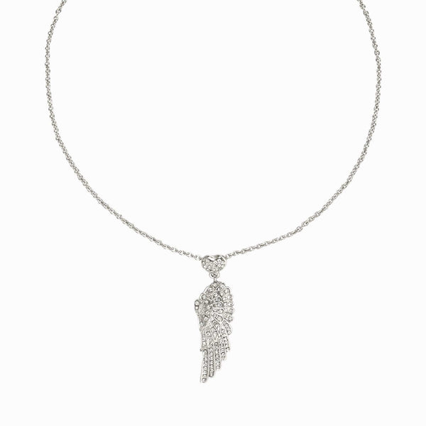 Small Crystal Wing and Heart Pendant
