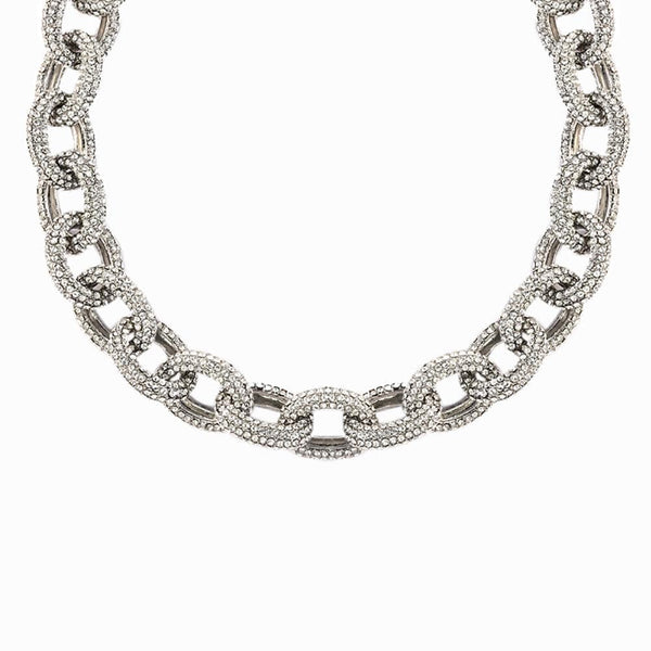 Crystal Mini Oval Link Necklace