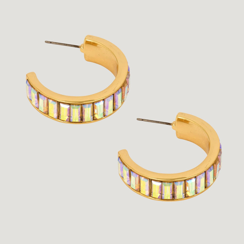 Baguette Crystal Hoop Earrings