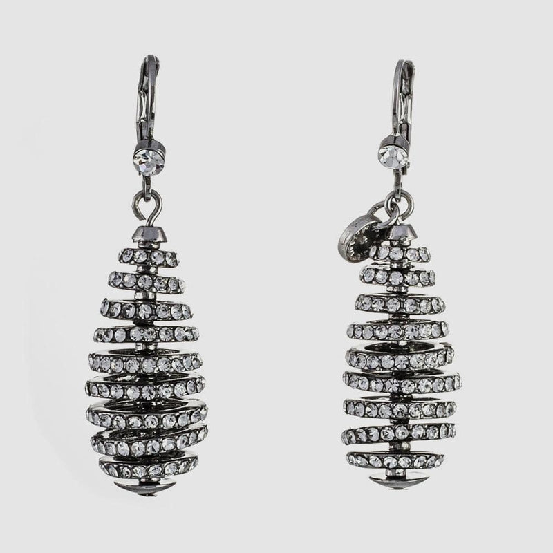 Crystal Spiral Rondell Earrings